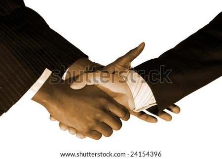 Formal hand shake with businessmen.