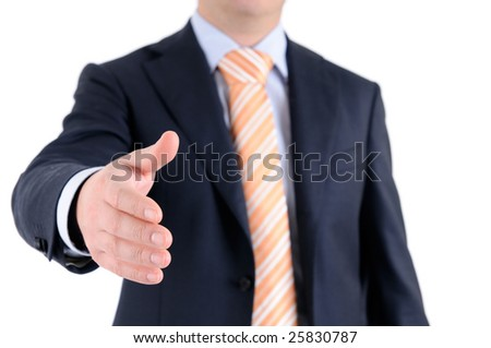 Formal handshake with focus on (male) hand.
