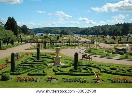 formal landscaped garden - stock photo