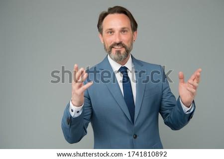 Formal teaching. Bearded man wear formal suit. Coach or teacher in formal style. Formal work fashion. Business outfit. Professional attire. Dress code. Formalwear.