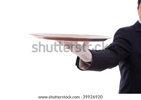 formal waiter with a tray (isolated on white)