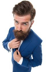 Formal wardrobe. Bearded man wear formal suit. Serious director in formal style. Formal work fashion. Business clothing. Professional attire. Office outfit. Dress code. Formalwear. Classy and elegant.