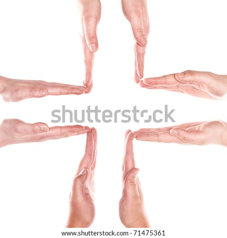 Formation of human hands isolated on white background