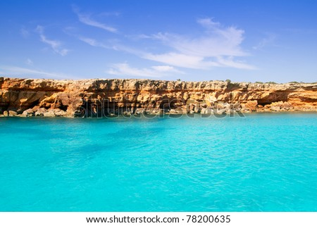 Formentera balearic island from sea west coast red mountains