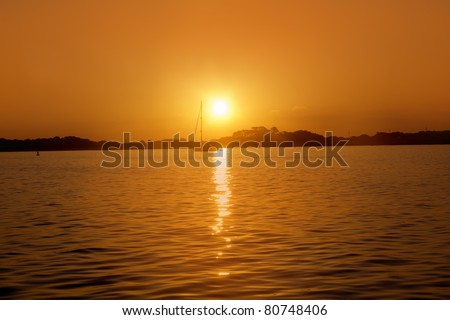Formentera balearic island sunrise at sea view from Illetas Balearics Spain