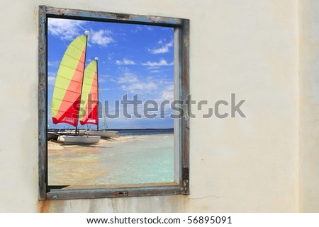Formentera beach hobie cat Illetes view from aged vintage window [Photo Illustration] - stock photo