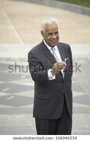 Former Governor Douglas Wilder and current Richmond Virginia Mayor waving to crowd in front of the Virginia State Capitol in Richmond Virginia, May 3, 2007