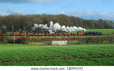 Former Lms 8f Class Locomotive On A Freight Train Passing Kinchley ...