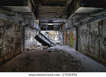 Former Office in an Abandoned Industrial Building - stock photo
