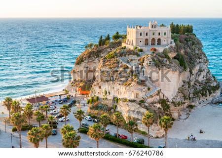 Former 4th century monastery on top of the Sanctuary of Santa Maria Island - Tropea, Calabria, Italy. #676240786