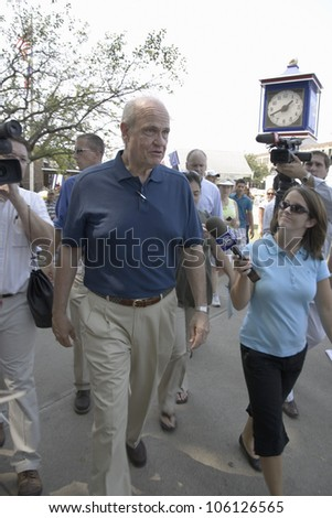 Former U.S. Senator and actor of Law & Order and US Presidential Candidate, Fred Thompson walking grounds of Iowa State Fair August 17, 2007, Des Moines, Iowa