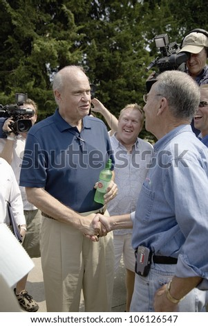 Former U.S. Senator and actor of Law & Order, Fred Thompson meeting U.S. Senator from Iowa, Chuck Grassley, at Iowa State Fair to campaign for U.S. President, August 17, 2007, Des Moines, Iowa