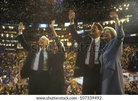 Former Vice President Al Gore and Senator Joe Lieberman's acceptance speech at the 2000 Democratic Convention at the Staples Center, Los Angeles, CA