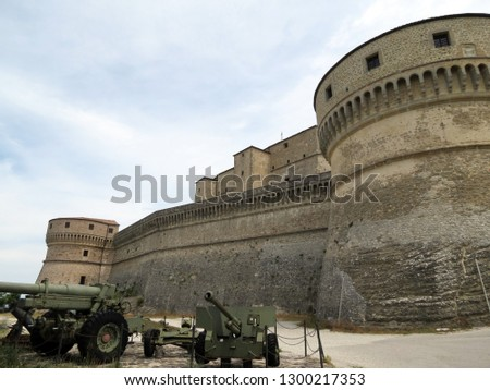 Formidable bastions of the fortress of San Leo, Italy, Europe. Here in prison the famous count Kaleostro ended his life