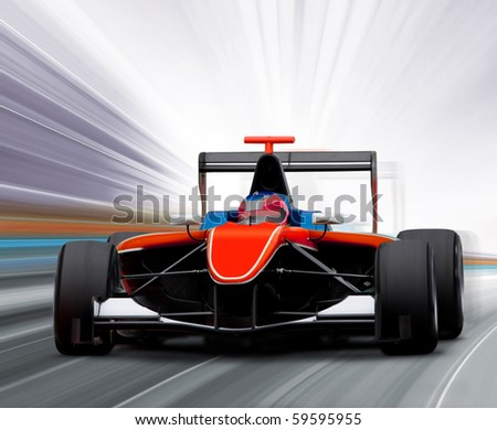 formula one race car on speed track - motion blur