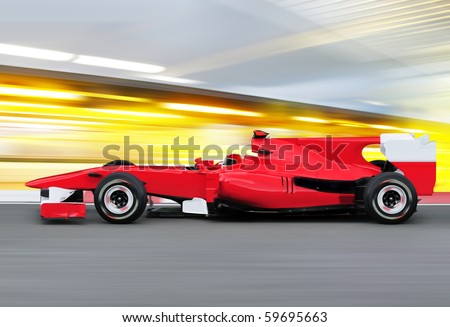 formula one race red car on speed track - motion blur