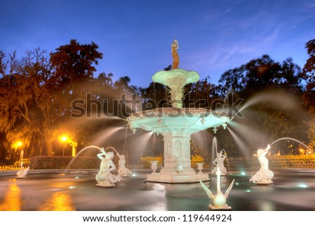 Forsyth Fountain in Savannah, Georgia