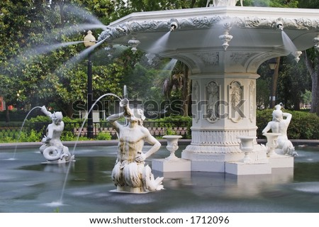 Forsyth Park Fountain in Savannah Georgia.  Showing the mermen.