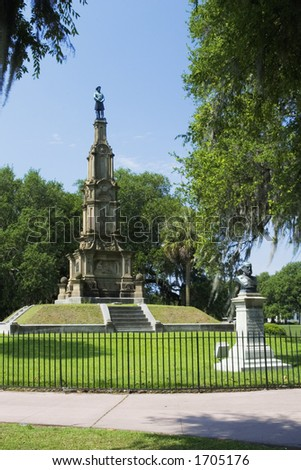 Forsyth Park's Confederate Monument in Savannah, Georgia.  Construced in 1874 and 1875