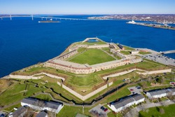 Fort Adams, a former United States Army post in Newport, Rhode Island that was established on July 4, 1799 as a First System coastal fortification, named for President John Adams.