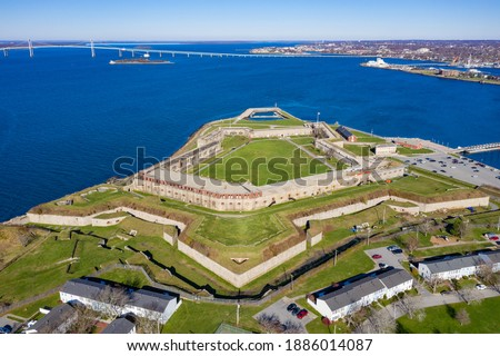 Photo of  Fort Adams, a former United States Army post in Newport, Rhode Island that was established on July 4, 1799 as a First System coastal fortification, named for President John Adams.