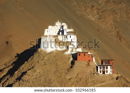 Fort and Namgyal or red gompa is main Buddhist centre in Leh. Ladakh. India