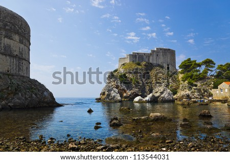 Fort at town Dubrovnik in Croatia - architecture background