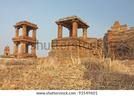 Fort atop rocky mountain and cave temples at Badami, Karnataka, India, Asia