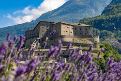 Fort Bard fortified complex in the small city of Bart, Aosta Valley, Italy