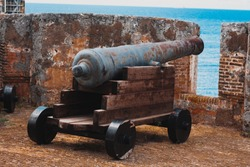 Fort Beekenburg in Curacao. Old vintage cannons rusting away in the fort.