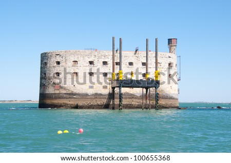 Fort Boyard, located between the ��le-d'Aix and the ��le d'Ol�©ron, France