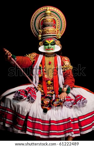 FORT COCHIN - FEBRUARY 17: Kathakali performer in the virtuous pachcha (green) role in Cochin on February 17, 2010 in South India. Kathakali is the ancient classical dance form of Kerala. - stock photo