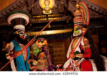 FORT COCHIN - FEBRUARY 14: Kathakali performers in Cochin Kathakali Center on February 17, 2010 in Cochin, South India. Kathakali is the ancient classical dance form of Kerala.