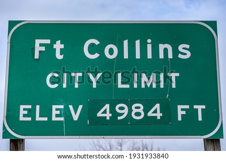 fort collins city limit sign Photo stock ©