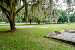 Fort Frederica National Monument, Georgia. Archaeological remnants of colonial town house foundations. Built by James Oglethorpe to protect the southern boundary of the British colonies from Spanish.