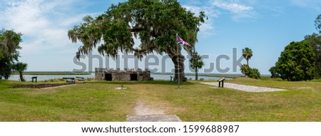 Fort Frederica National Monument, on St. Simons Island, Georgia, archaeological remnants of a fort and town built by James Oglethorpe between 1736 and 1748 to protect the southern boundary from Spain Zdjęcia stock ©
