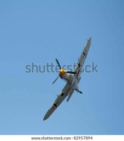 FORT GEORGE, SCOTLAND - AUGUST 13: An unidentified pilot flies a Messerschmitt plane at the Celebration Of The Centuries event on August 13, 2011 at Fort George, Scotland.