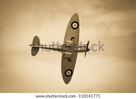 FORT GEORGE, SCOTLAND - AUGUST 11: An unidentified pilot flies a Spitfire plane at the Celebration Of The Centuries event on August 11, 2012 at Fort George, Scotland.
