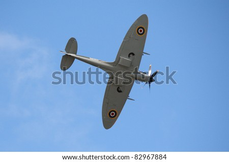 FORT GEORGE, SCOTLAND - AUGUST 13: An unidentified pilot flies a Spitfire plane at the Celebration Of The Centuries event on August 13, 2011 at Fort George, Scotland.