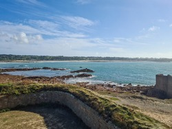 Fort Hommet and Vazon Bay, Guernsey Channel Islands,