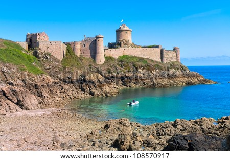 Fort La Latte on Cote de Granit Rose coast of English Channel, Brittany, France