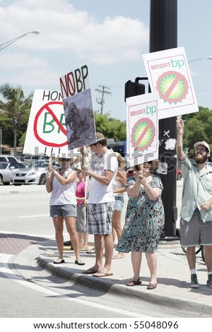 FORT LAUDERDALE, FL - June 12: Group of peaceful protestors on the street corner protesting BP (British Petroleum) due to the oil spill June 12, 2010 in Fort Lauderdale, FL.