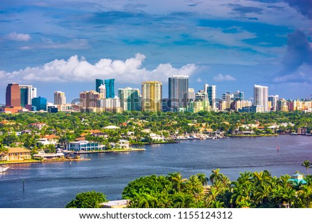 Fort Lauderdale, Florida, USA skyline and river.