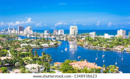 Fort Lauderdale, Florida, USA skyline over Barrier Island. Сток-фото ©