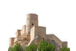 Fort Nakhal, a fortification in Al Batinah Region of Oman, isolated on white background