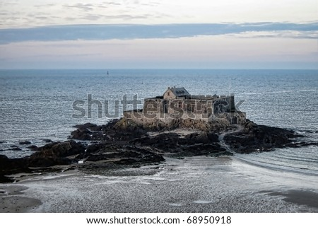 Fort National Historic Fortress in the Bay of Saint Malo on the English Channel in Brittany France