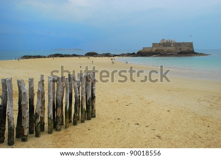 Fort National in the evening in St Malo, Brittany, France, Beautiful beach during low tide, Horizontal shot