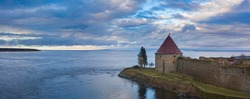 Fort Oreshek on Island. Oreshek fortress in Russia. Shlisselburg fortress in Lake Ladoga. Island with fortress in Lake Ladoga. Fortress near Saint Petersburg. Excursions in suburbs of St. Petersburg