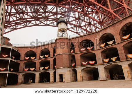 Fort Point is located at the southern side of the Golden Gate at the entrance to San Francisco Bay.