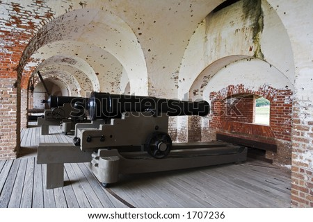 Fort Pulaski National Monument built 1829 to 1847, Confederate cannon guarding the main entrance to the fort